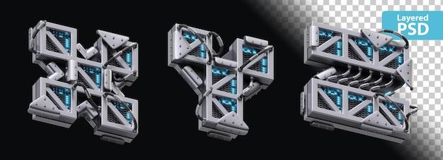 3d metaliczne litery x, y, z z efektem świecącym