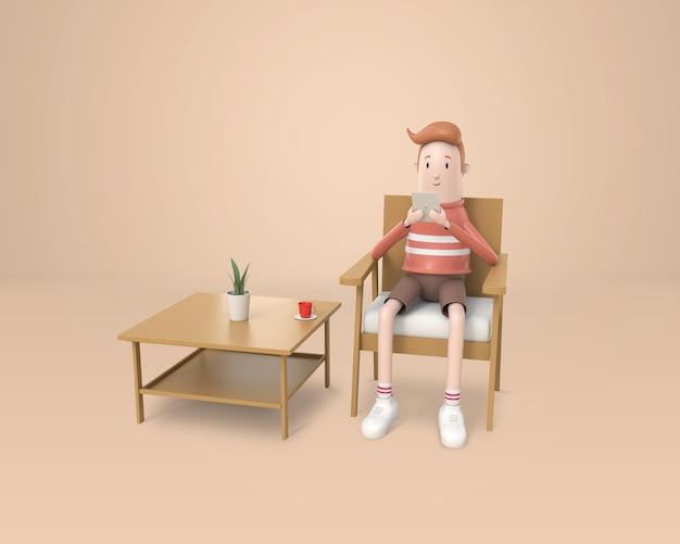 3d, młody mężczyzna siedzi i używa tabletu w ręku na drewnianym krześle w salonie