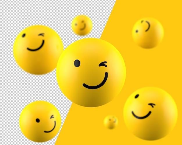 3d mrugająca ikona emotikon