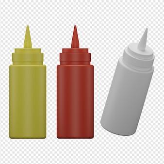 3d na białym tle render ikony butelki sosu