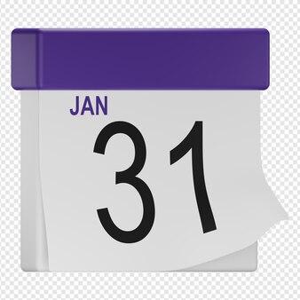 3d na białym tle render ikony kalendarza psd