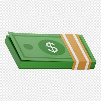 3d na białym tle render ikony pieniędzy psd