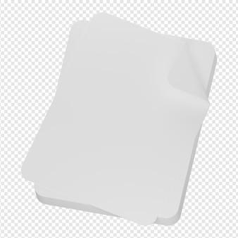 3d na białym tle render stosu papieru ikona psd