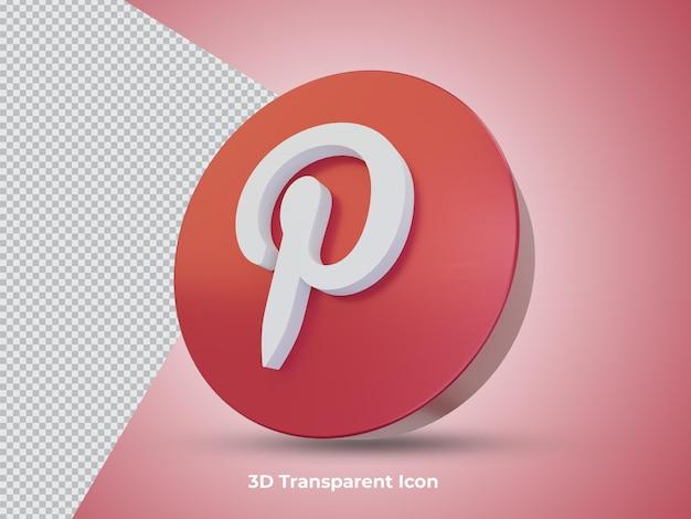 3d na białym tle widok ikony pinteresta po stronie