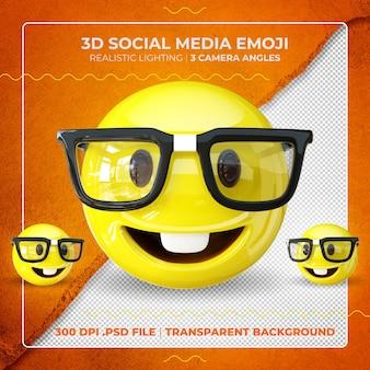 3d nerd emoji na białym tle w okularach