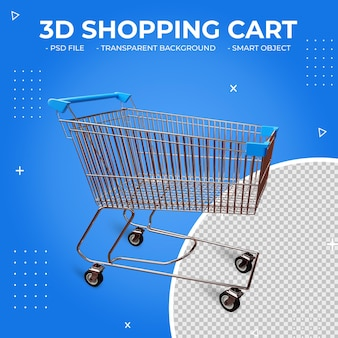3d niebieski kolor metalowy koszyk na zakupy na białym tle
