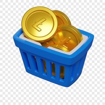 3d niebieski koszyk na zakupy z koncepcją zakupu tokenów litecoin kryptowaluta