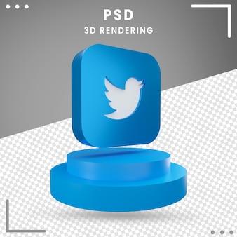 3d niebieski obrócone logo ikona twitter na białym tle