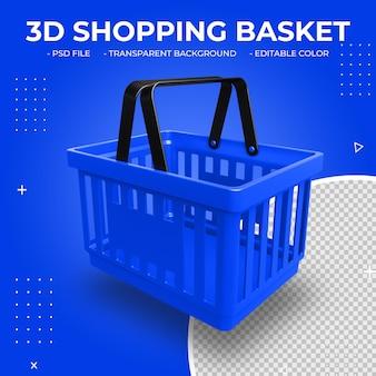 3d niebieski plastikowy koszyk na białym tle
