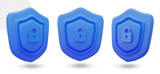3d niebieski symbol tarczy bezpieczeństwa z zamkiem kluczowym