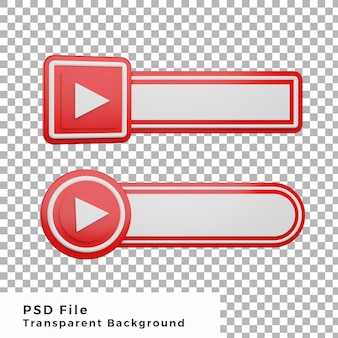 3d niższe trzecie logo youtube ikona mediów społecznościowych pakiet różnych kształtów wysokiej jakości