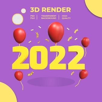 3d nowy rok 2022 z balonem