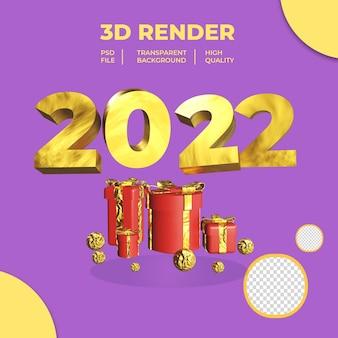 3d nowy rok 2022 z czerwonym pudełkiem na prezent