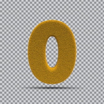 3d numer 0 z żółtej trawy