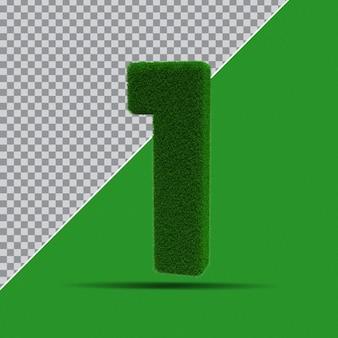 3d numer 1 z zielonej trawy