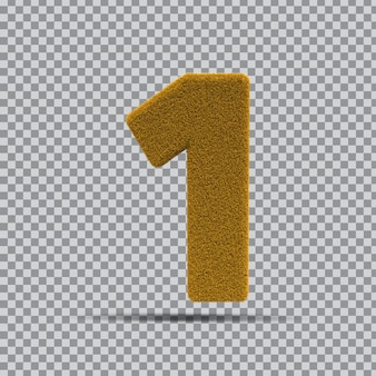 3d numer 1 z żółtej trawy