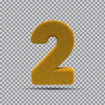 3d numer 2 z żółtej trawy