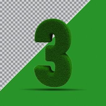 3d numer 3 z zielonej trawy