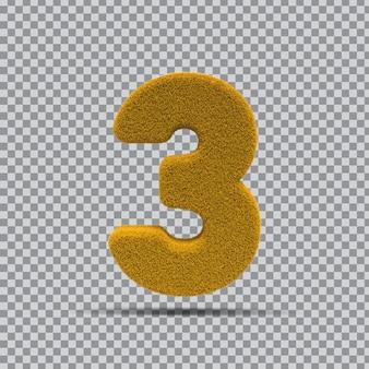 3d numer 3 z żółtej trawy
