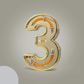 3d numer 3 złote ilustracje