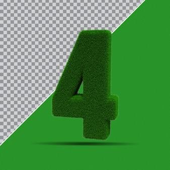 3d numer 4 z zielonej trawy