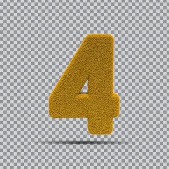 3d Numer 4 Z żółtej Trawy Premium Psd