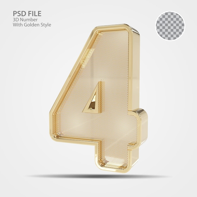 3d numer 4 złoto