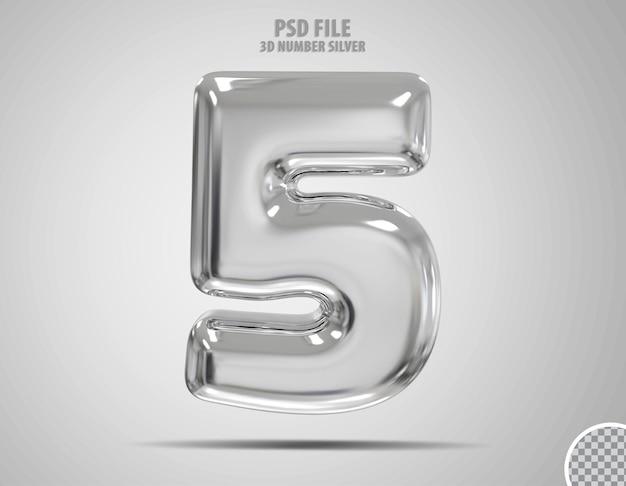 3d numer 5 srebrny luksusowy render