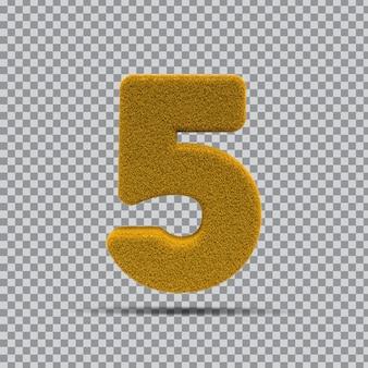 3d numer 5 z żółtej trawy