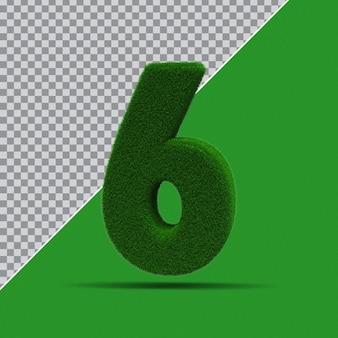 3d Numer 6 Z Zielonej Trawy Premium Psd