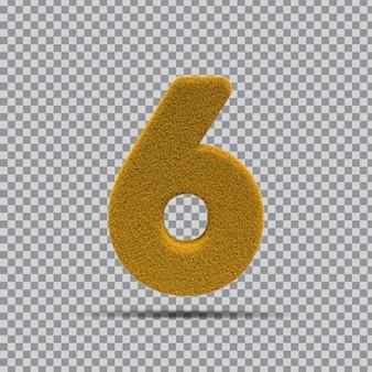 3d numer 6 z żółtej trawy