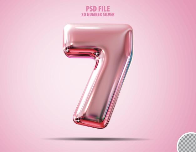 3d numer 7 różowy luksusowy render