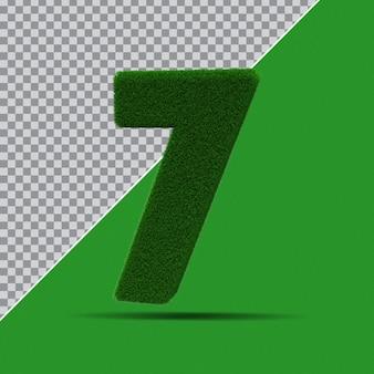 3d numer 7 z zielonej trawy