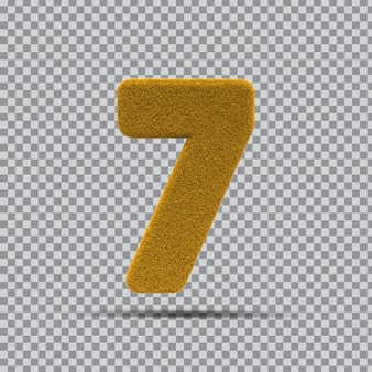 3d Numer 7 Z żółtej Trawy Premium Psd