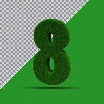 3d numer 8 z zielonej trawy