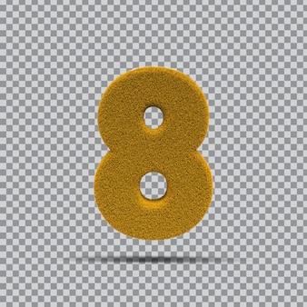 3d numer 8 z żółtej trawy