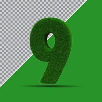 3d numer 9 z zielonej trawy