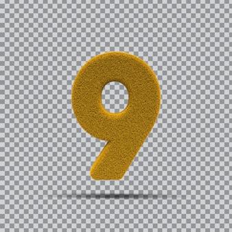 3d numer 9 z żółtej trawy