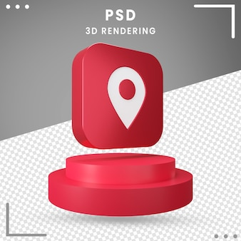 3d obrócona ikona czerwony lokalizacja na białym tle
