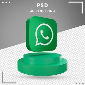 3d obrócona ikona logo whatsapp na białym tle