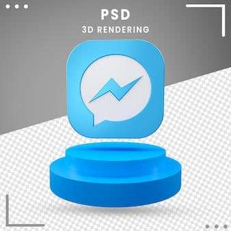 3d obrócone logo ikona messenger design