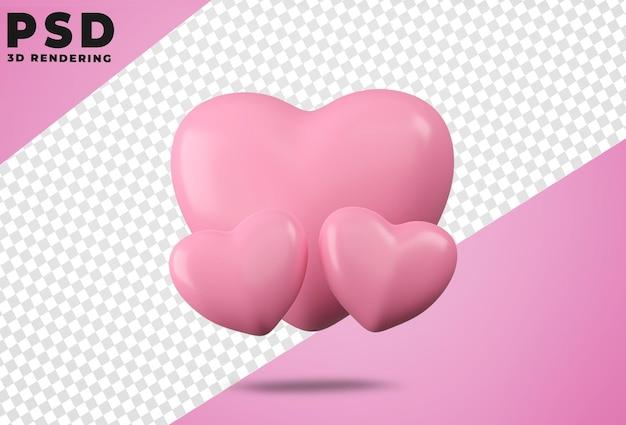 3d obrócone logo ikona miłość na białym tle projekt