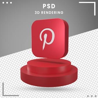 3d obrócone logo ikona pinterest na białym tle