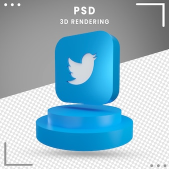 3d obrócone logo ikona twitter na białym tle
