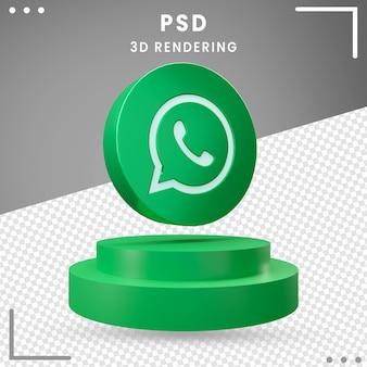 3d obrócone logo ikony whatsapp renderowania projektu na białym tle