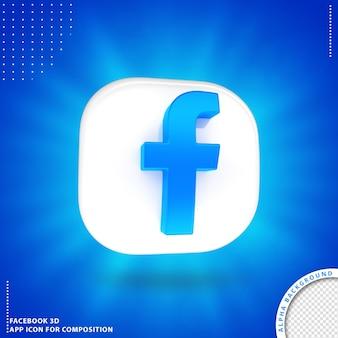 3d obrócony przycisk aplikacji facebook biały