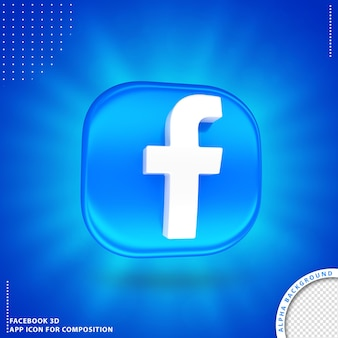 3d obrócony przycisk aplikacji facebook