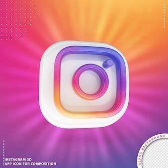 3d obrócony przycisk aplikacji instagram biały