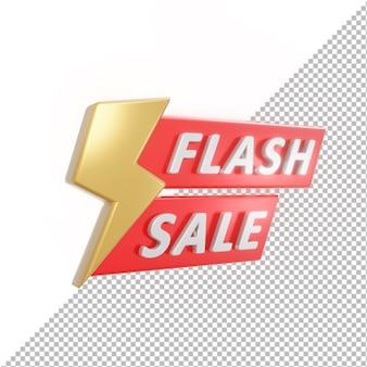3d odznaka sprzedaż flash na białym tle