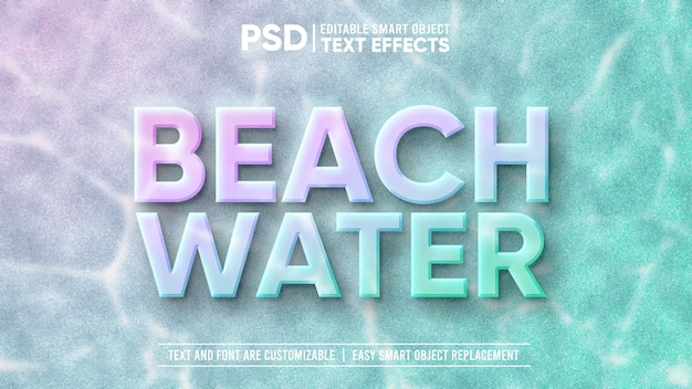3d piękna podwodna plaża edytowalny efekt tekstowy inteligentnego obiektu